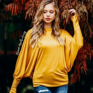 Mustard Dolman Sleeve Top